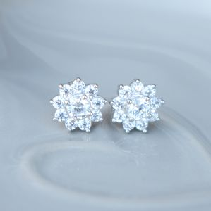 Cubic Zirconia Flower Stud Earrings - earrings