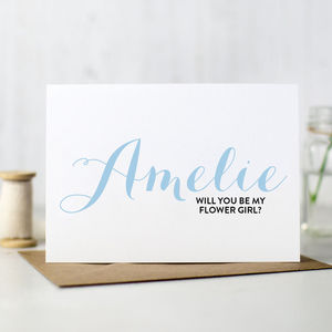 Personalised 'Will You Be My Flower Girl' Card - wedding cards