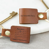 Personalised Third Wedding Anniversary Leather Keyring - accessories