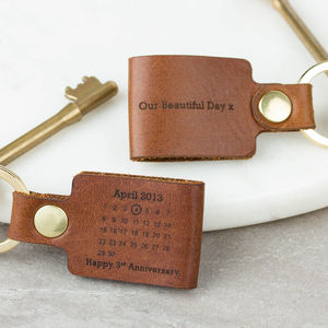 Personalised Third Wedding Anniversary Leather Keyring - keyrings