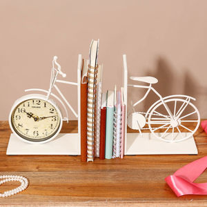 Personalised Bicycle Bookends With Clock - bookends