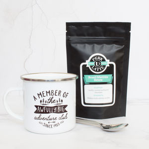 'Adventure Club' Enamel Mug And Coffee Set - camping