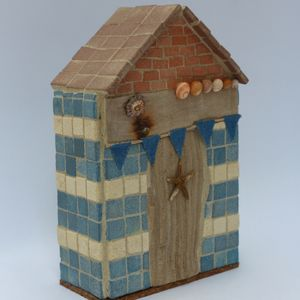 Denim Bunting Beach Hut Mosaic Ornament