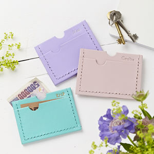 Personalised Bright Leather Card Holder - frequent traveller