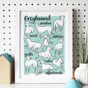 Illustrated Greyhound Breed Traits Print