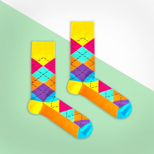 Multi Colour Argyle Sock - men's fashion