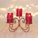 Copper Five Pillar Candle Display Centrepiece