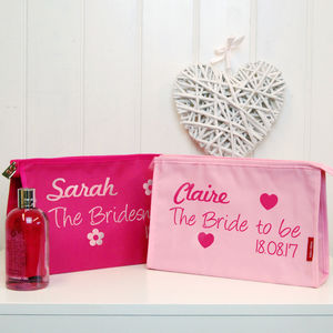 Personalised Bride And Bridesmaid Toiletry Bags