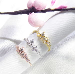 Cluster Delicate Ring Cz 925 Silver Yellow Rose Gold