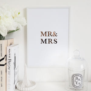 'Mr And Mrs' Wall Art Foil Print - family & home
