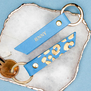 Personalised Gold Leopard Print Leather Keyring - colour pop