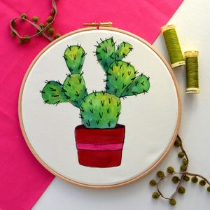 Hand Painted And Embroidered Cactus Embroidery Hoop Art - canvas prints & art