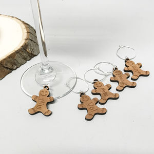 Five Christmas Gingerbread Wine Glass Charms