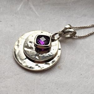Sterling Silver Planished Memorial Crystal Pendant