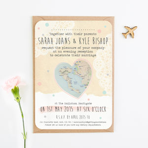 Map Evening Wedding Invitations - invitations