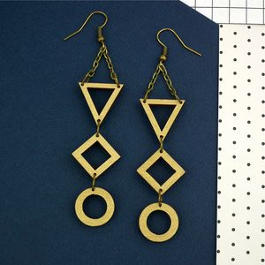 Gold Geometric Drop Earrings - earrings