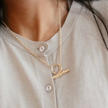 Bria T Bar Hammered Gold Chain Link Necklace