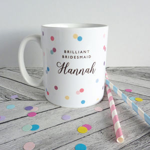Confetti Bridesmaid Personalised Mug - kitchen