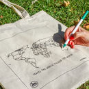 Trouvaille World Tote Shopping Bag with World Map and Textile Colouring Pen