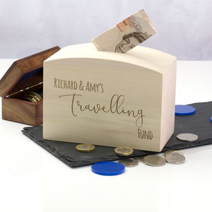 Personalised Travelling Fund Money Box - money boxes