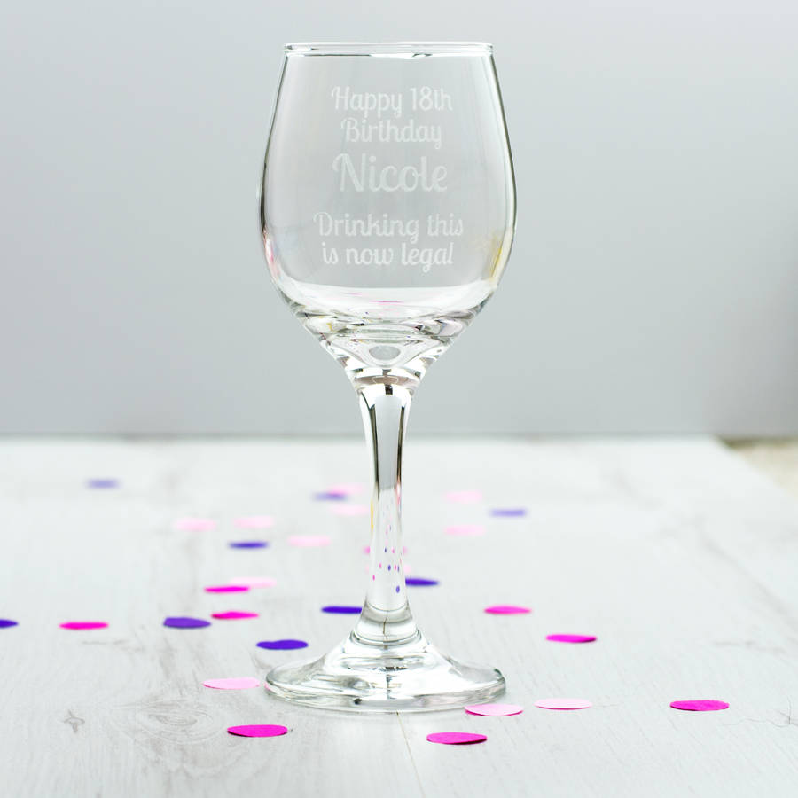 Personalised 18th Birthday Wine Glass By Mirrorin