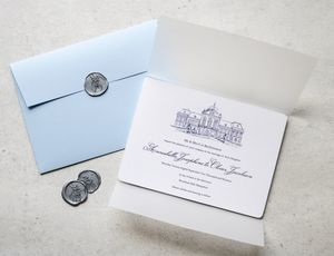 Classic Venue Sketch Wedding Invitation Collection