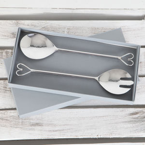 Heart Salad Servers In Gift Box
