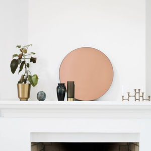 Rose Gold Round Wall Mirror - mirrors