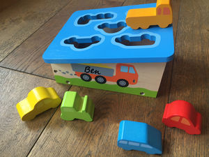 Wooden Car Or Wooden House Sorting Box