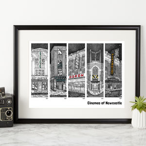 Cinemas Of Newcastle Illustration Print