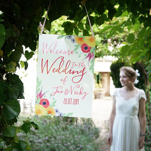 Personalised Summer Wedding Welcome Sign - art & decorations