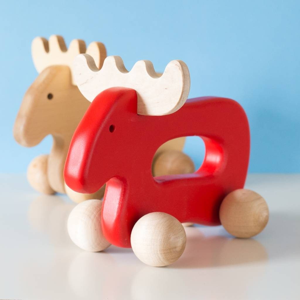 Wooden christmas moose by natural gift store