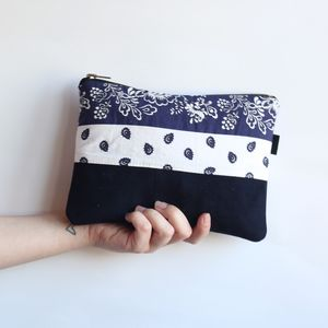 Reclaimed Suede And Paisley Clutch Bag