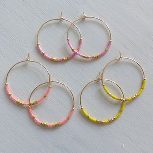 Large Fair Trade Neon Hoop Earrings