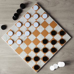 Draughts Set With Marble Playing Board