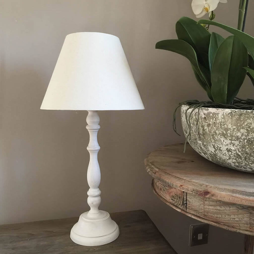 White Washed Distressed Table Lamp With Empire Shade