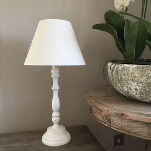 White Washed Distressed Table Lamp With Empire Shade - lighting