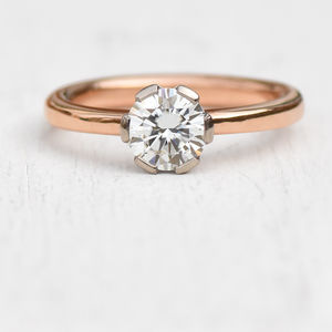 Moissanite Engagement Ring, 18ct Rose Gold