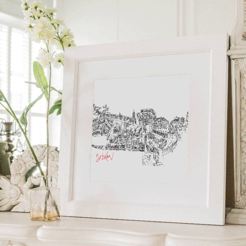 Brixton Town, London Framed Illustrated Map Print
