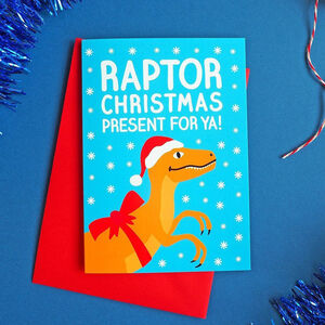 Raptor Christmas Present Card