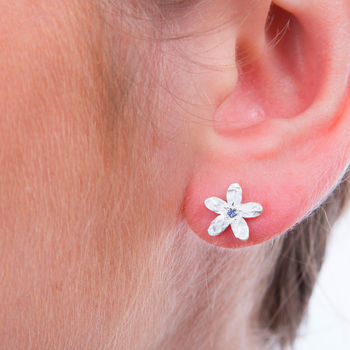 Birthstone September flower earrings