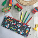 Children's Space Rocket Fabric Pencil Case