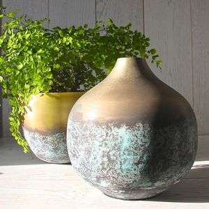 Brass And Verdigris Urn Vase - tableware