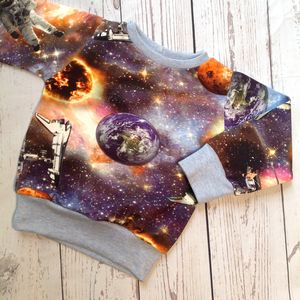 Space Print Sweatshirt Jumper - clothing