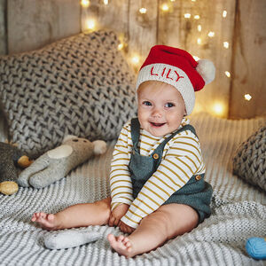Personalised Knitted Baby Santa Hat