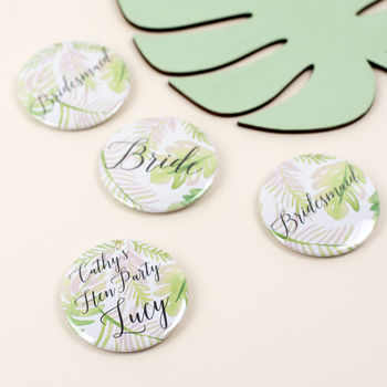 Personalised Botanical Leaf Print Hen Party Badge