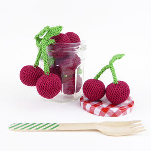 Cherry Play Pretend Fruit Crochet Toy