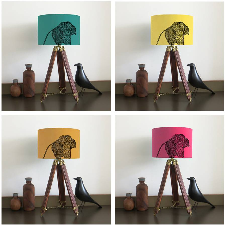 Elephant lampshade with fifteen fabric colour options by bymarie elephant lampshade in jade lemon mustard cerise fabric colours mozeypictures Image collections