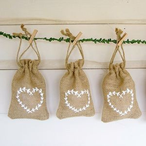 Hessian Favour Bag With White Heart Decoration
