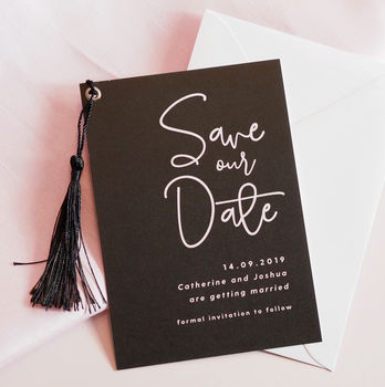 Lexi Black Tassel Save The Date Cards
